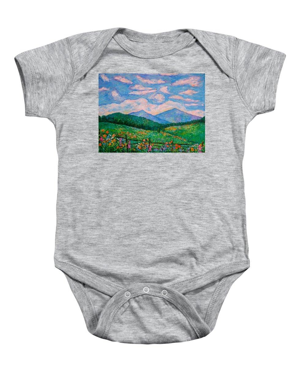 Kendall Kessler Baby Onesie featuring the painting Cloud Swirl Over The Peaks Of Otter by Kendall Kessler