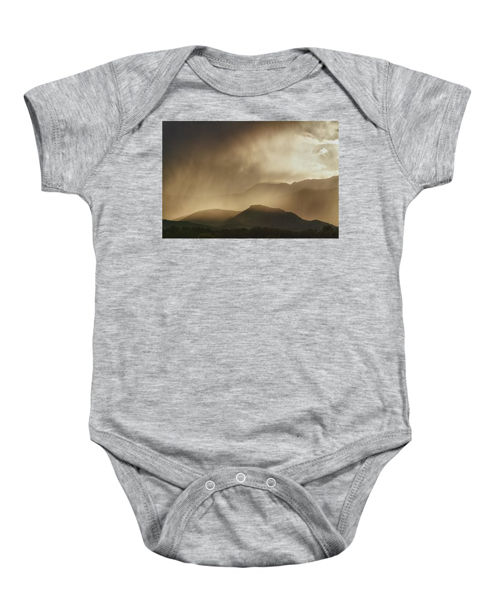 colorful Nature Photography Baby Onesie featuring the photograph Clouds On The Rocky Mountains Front Range Foothills by James BO Insogna