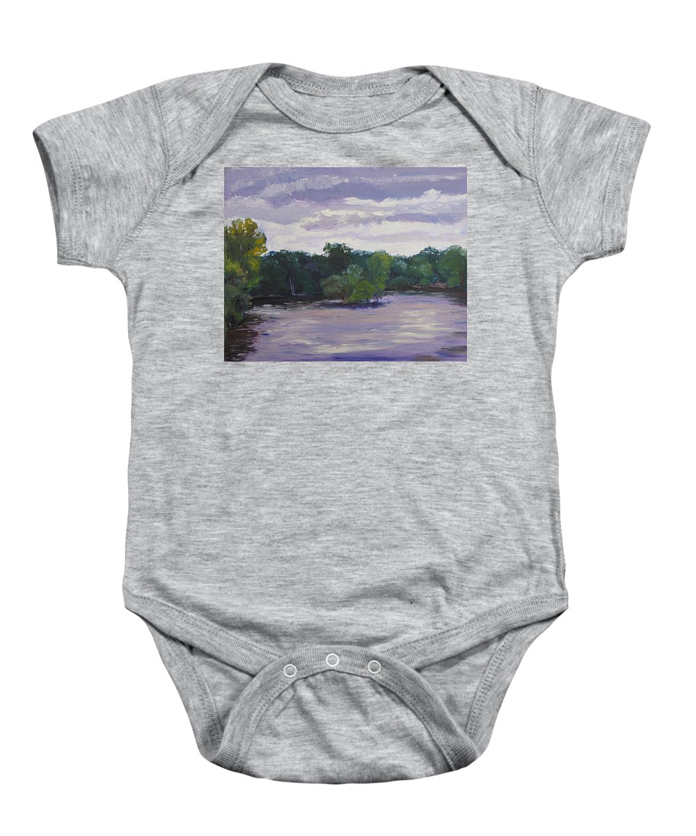 Landscape Baby Onesie featuring the painting Clouds Over The Lake by Lea Novak