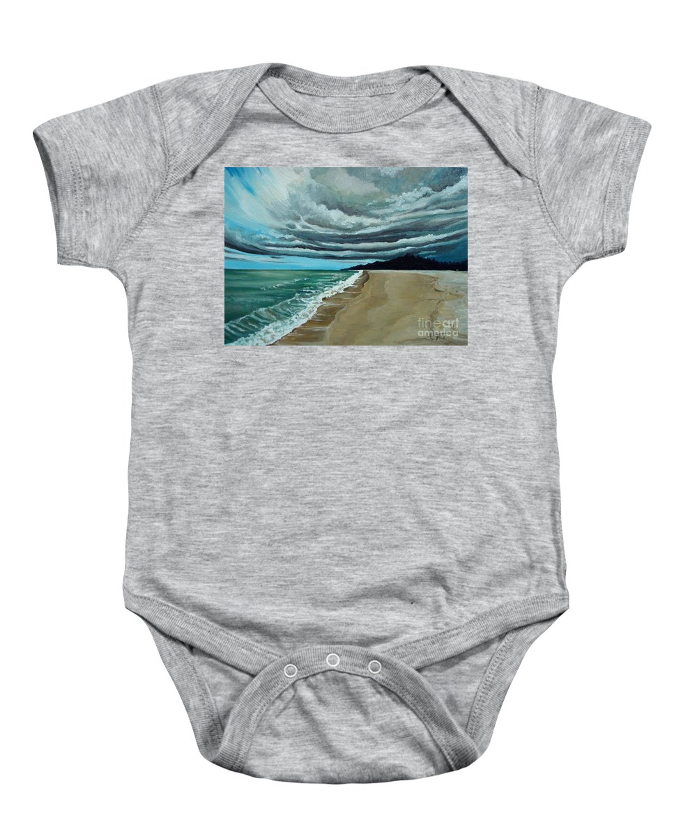 Landscape.beach Baby Onesie featuring the painting Clouds Rolling In by Elizabeth Robinette Tyndall