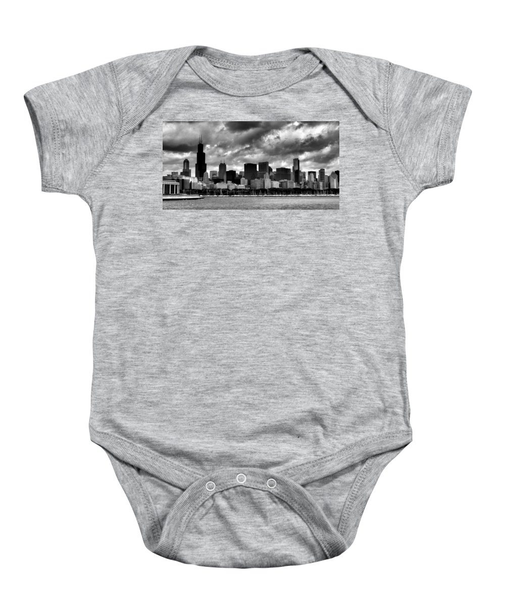 Chicago Skyline Baby Onesie featuring the photograph Cloudy Day Chicago - 2 by Ely Arsha