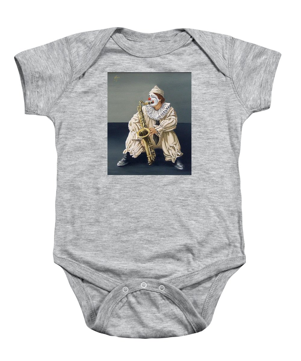 Clown Figurative Portrait People Baby Onesie featuring the painting Clown by Natalia Tejera