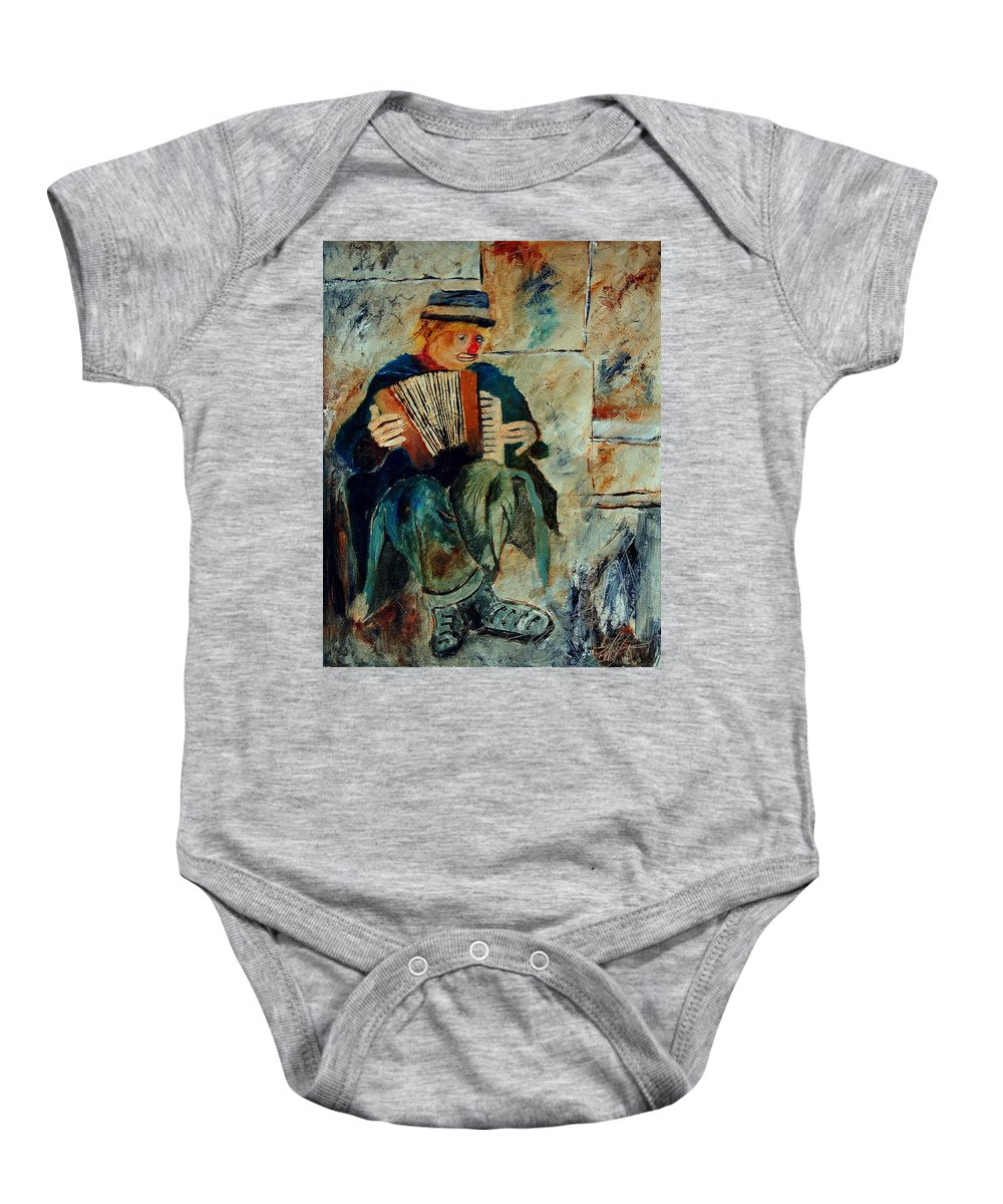Music Baby Onesie featuring the painting Clown by Pol Ledent