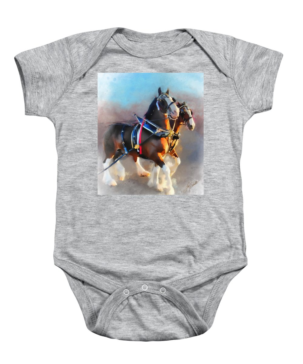 Clydesdales Painting Baby Onesie featuring the painting Clydesdales by Tom Schmidt