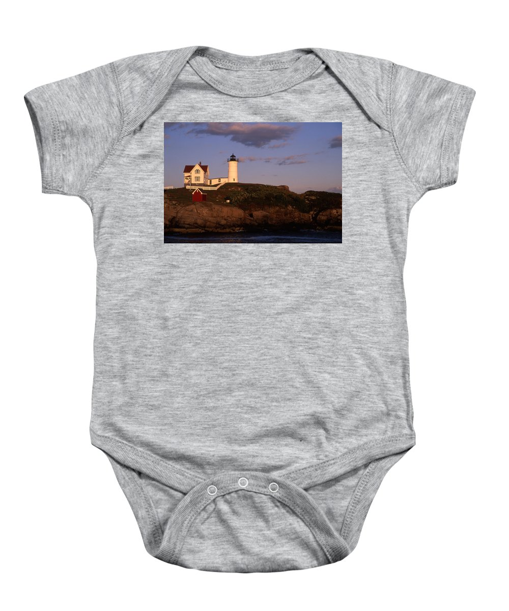 Landscape New England Lighthouse Nautical Coast Baby Onesie featuring the photograph Cnrf0908 by Henry Butz