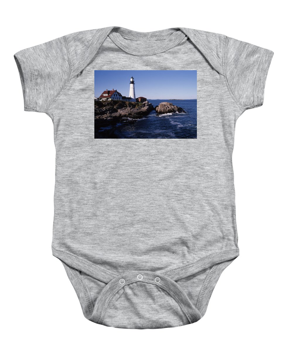 Landscape New England Lighthouse Nautical Coast Baby Onesie featuring the photograph Cnrf0910 by Henry Butz