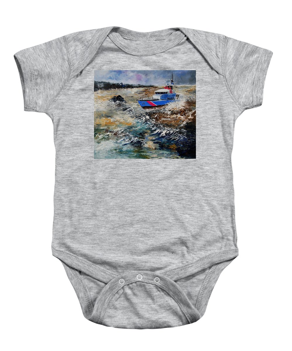 Sea Baby Onesie featuring the painting Coastguards by Pol Ledent