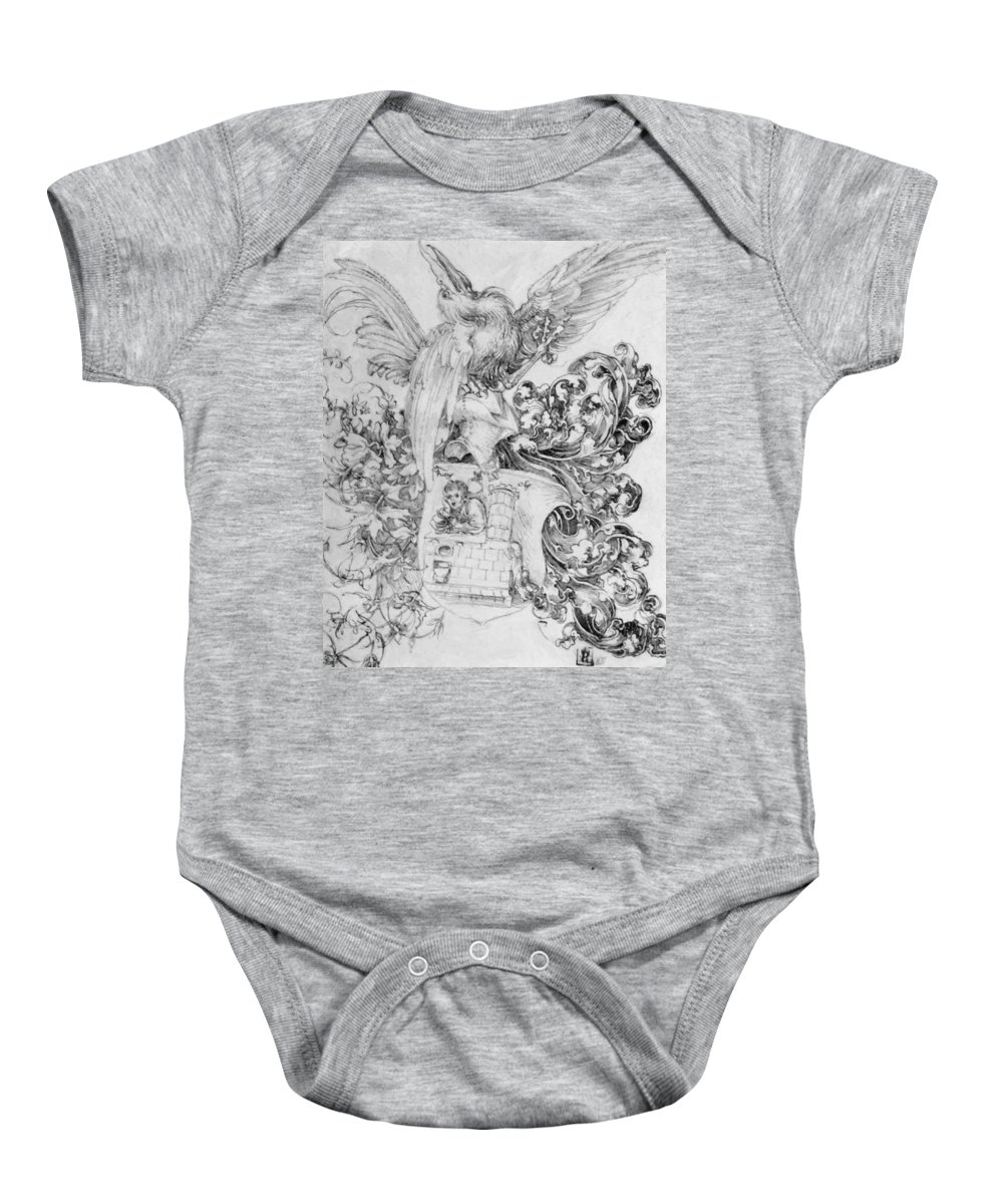 Coat Baby Onesie featuring the painting Coat Of Arms With Open Man Behind by Durer Albrecht