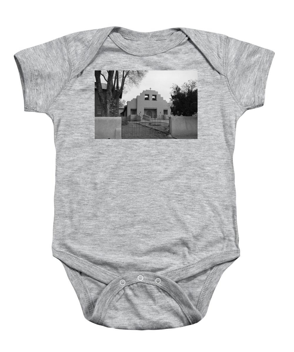 Architecture Baby Onesie featuring the photograph Cochiti Church by Rob Hans