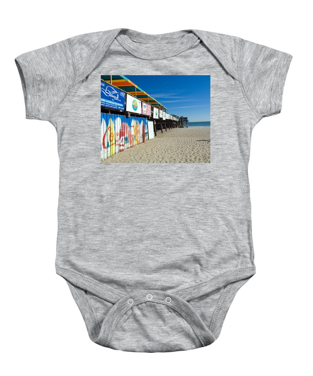 Florida; Cocoa; Beach; Atlantic; Ocean; East; Space; Coast; Brevard; Central; Pier; Surf; Surfing; F Baby Onesie featuring the photograph Cocoa Beach Flotida by Allan Hughes