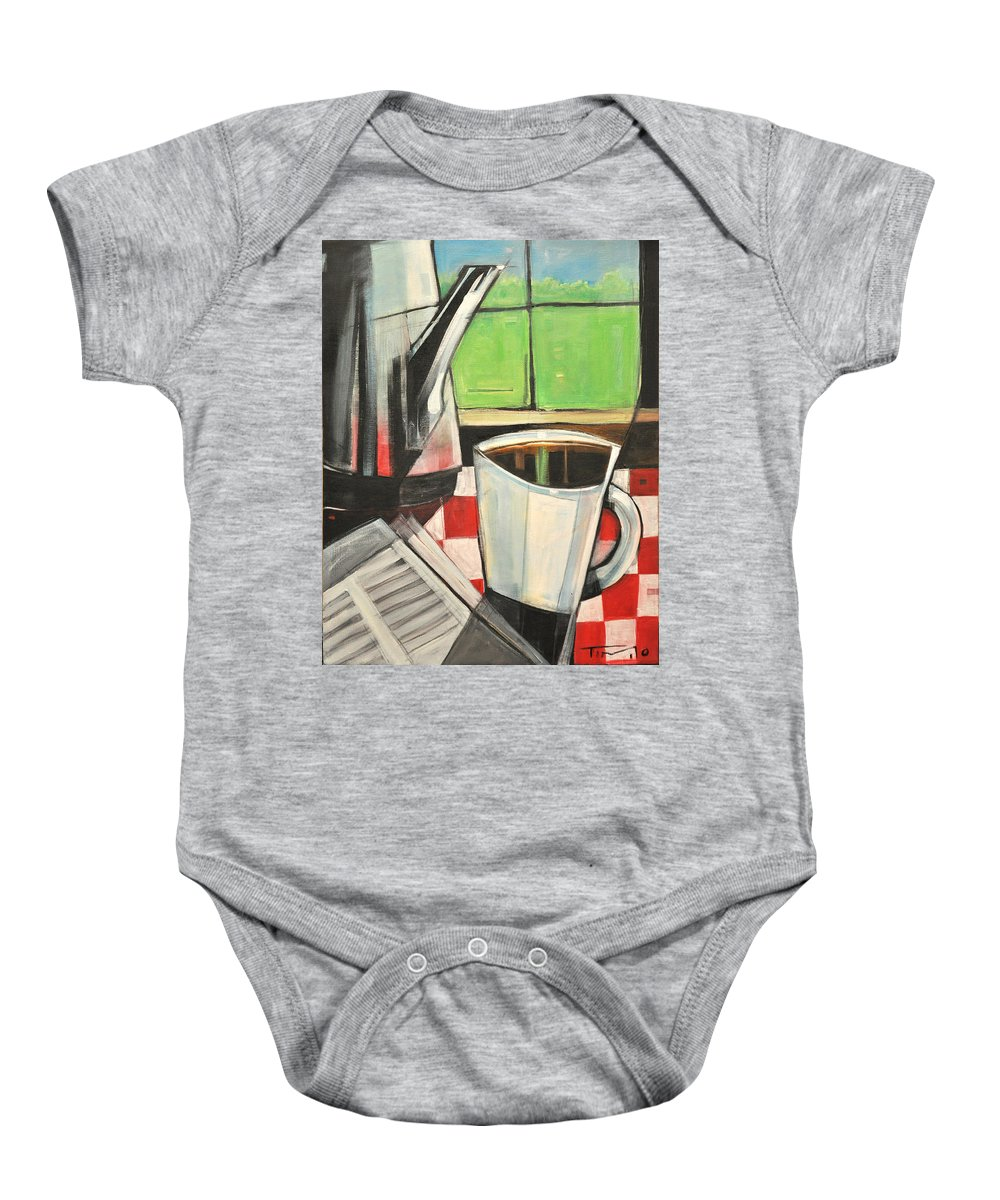 Coffee Baby Onesie featuring the painting Coffee And Morning News by Tim Nyberg