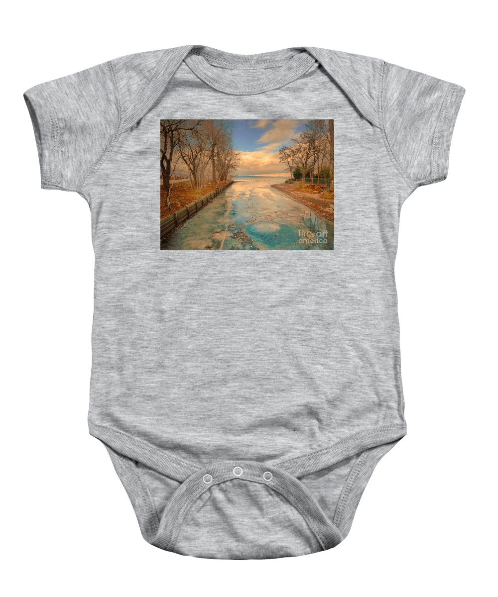 Lake Baby Onesie featuring the photograph Cold And Warmth by Tara Turner