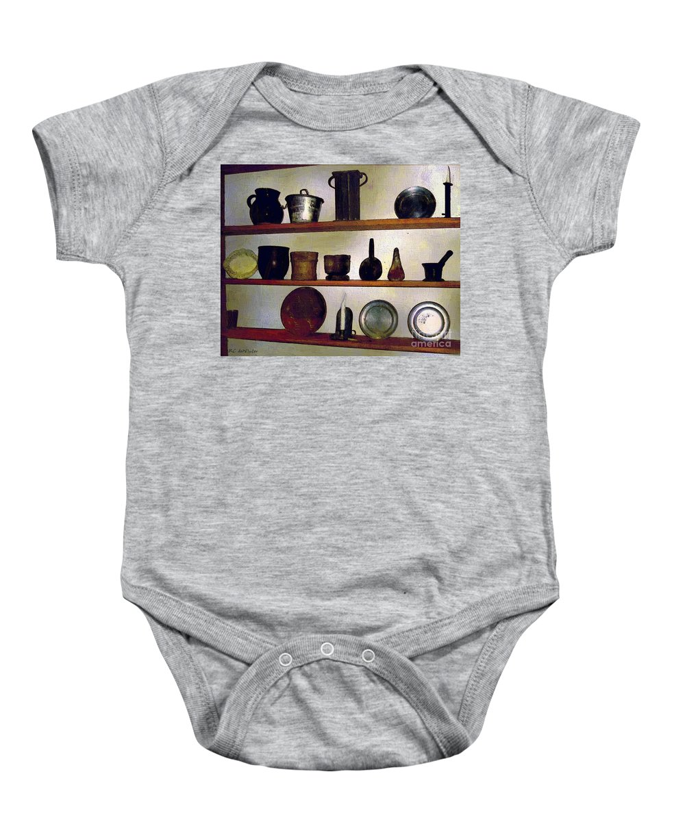 Antiques Baby Onesie featuring the painting Colonial Cook's Cupboard by RC DeWinter