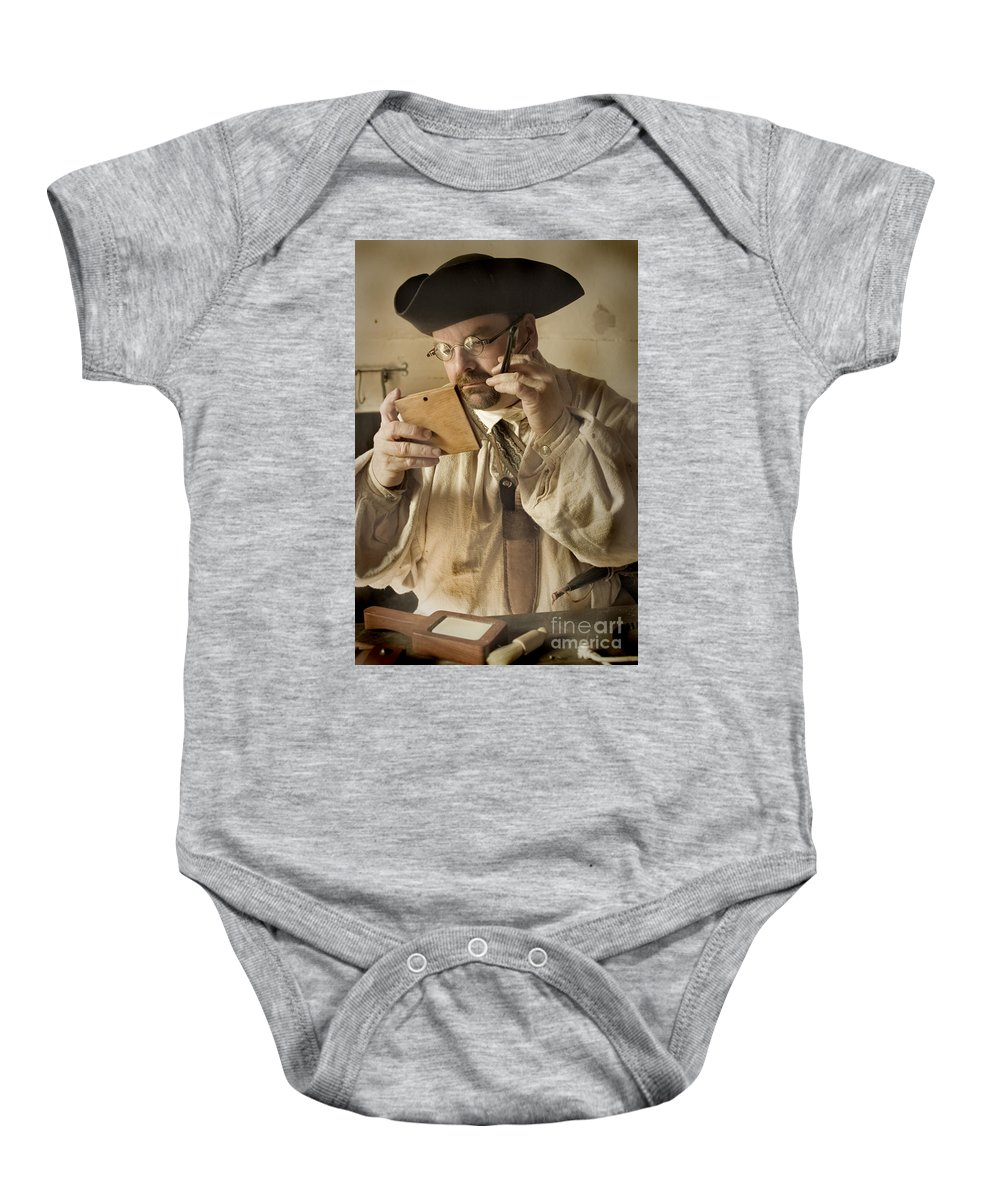 Primitive Baby Onesie featuring the photograph Colonial Man Shaving by Kim Henderson