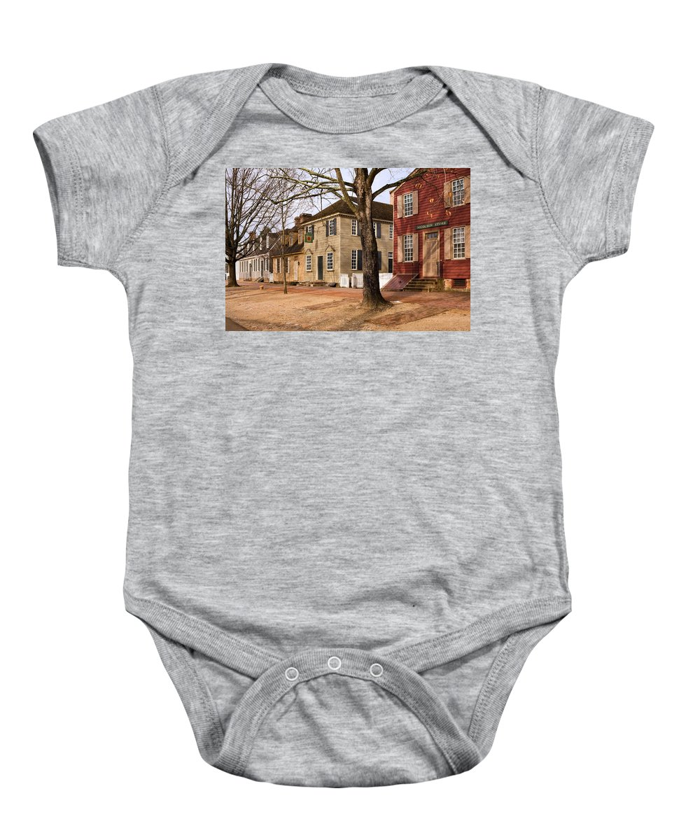 Duke Of Gloucester Street Baby Onesie featuring the photograph Colonial Street Scene by Sally Weigand