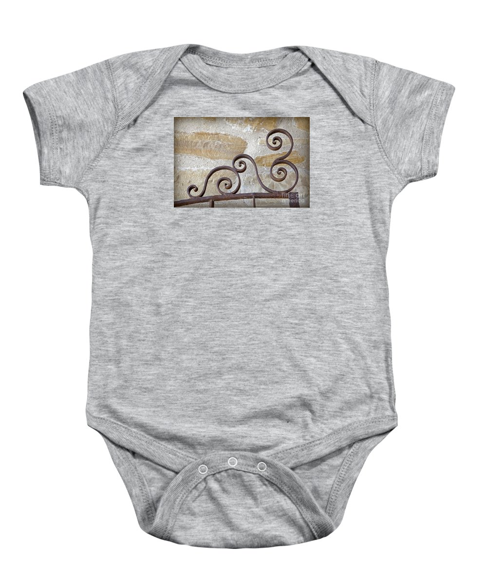 Colonial Baby Onesie featuring the photograph Colonial Wrought Iron Gate Detail by John Stephens