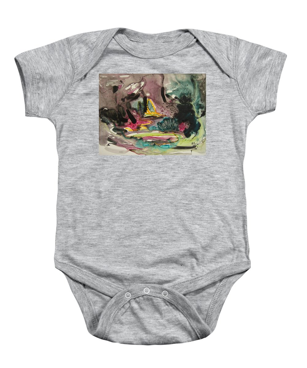 Abstract Baby Onesie featuring the painting Color Fever 136 by Seon-Jeong Kim
