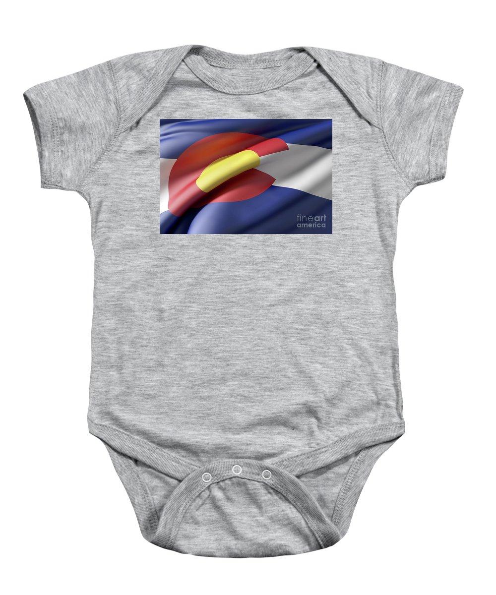 Colorado Baby Onesie featuring the digital art Colorado State Flag by Enrique Ramos Lopez