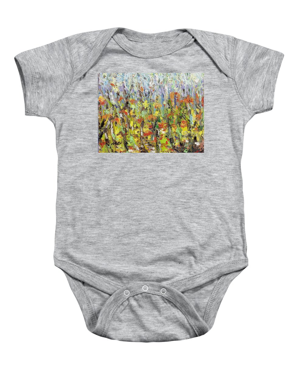 Autumn Abstract Paintings Baby Onesie featuring the painting Colorful Forest by Seon-Jeong Kim
