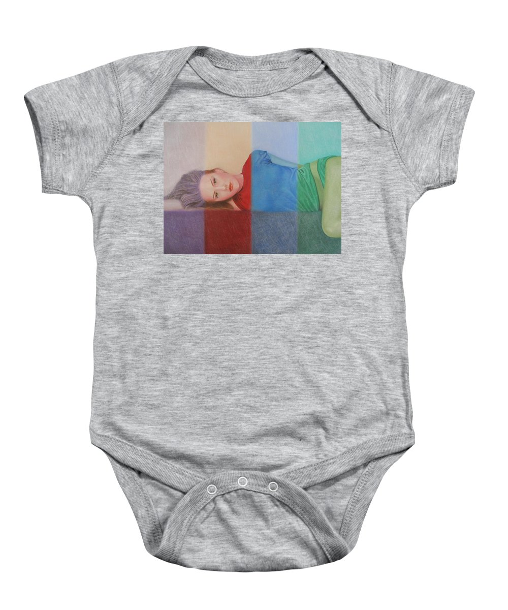 Woman Baby Onesie featuring the painting Colorful Girl by Lynet McDonald