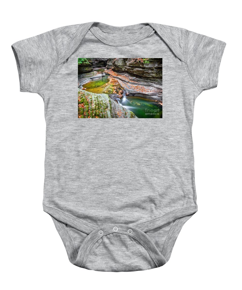 New York Baby Onesie featuring the photograph Colorful Pool In The Gorge Of Watkins Glen by Karen Jorstad
