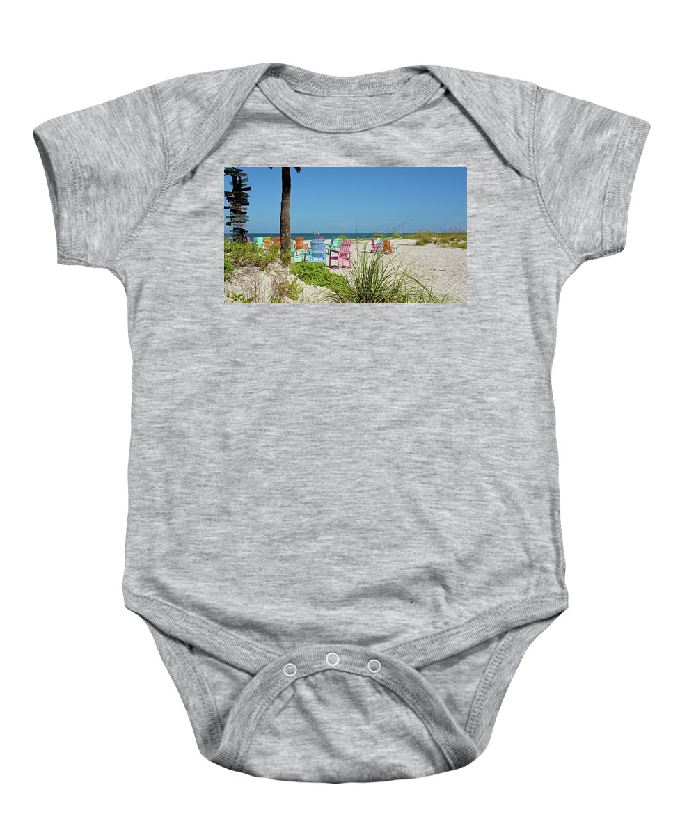 Chairs Baby Onesie featuring the photograph Colors Of The Seats by Carol Bradley