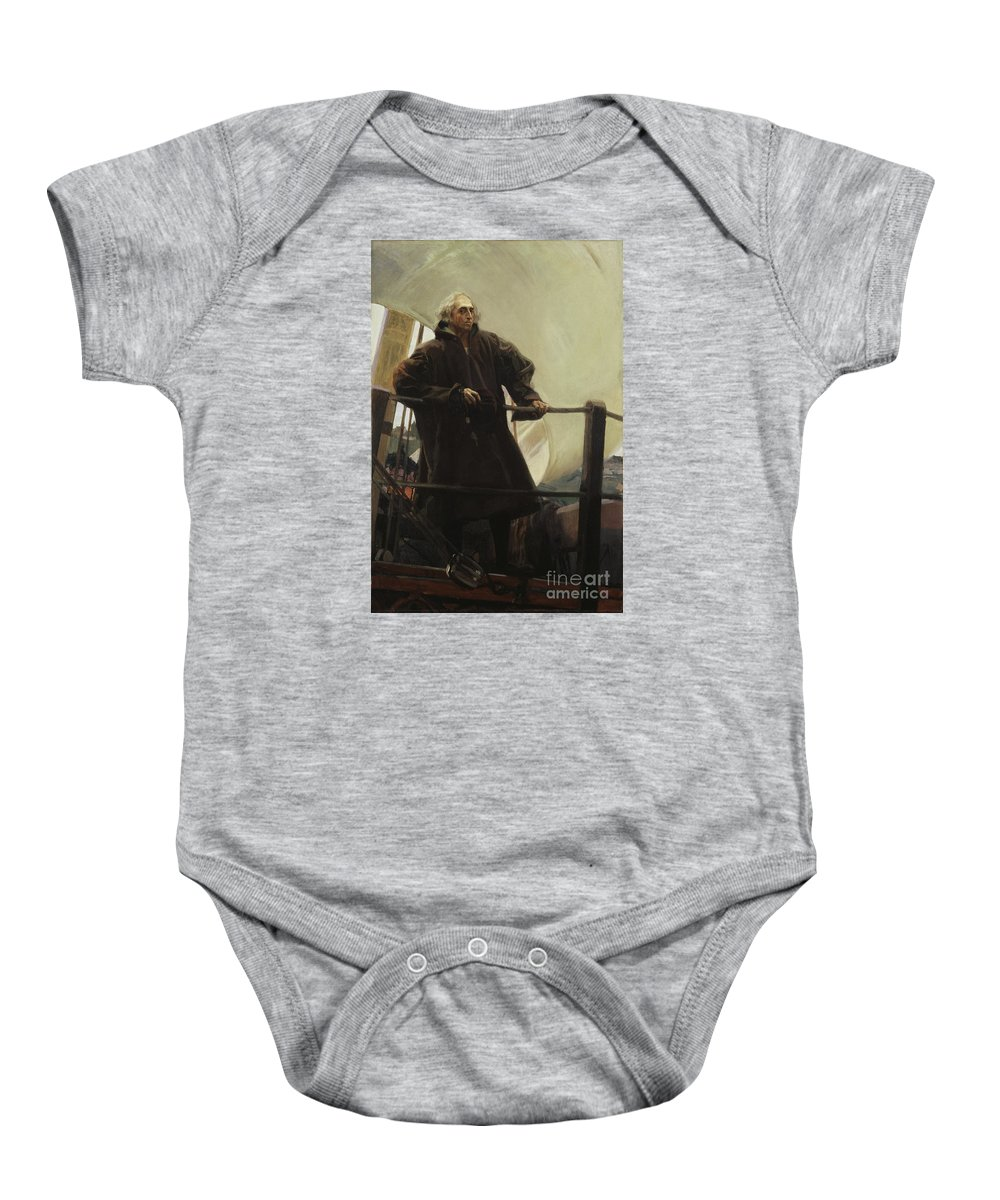 Christopher Columbus Baby Onesie featuring the painting Columbus Leaving Palos by Celestial Images