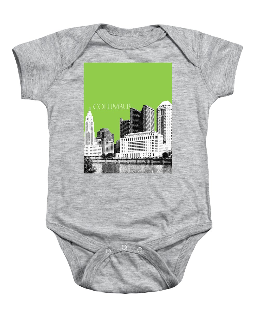 Architecture Baby Onesie featuring the digital art Columbus Ohio Skyline - Olive by DB Artist