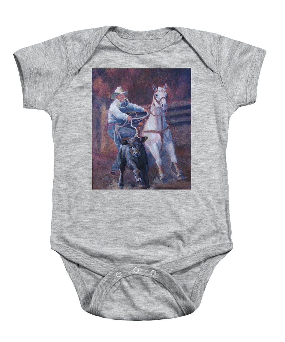 Calf Baby Onesie featuring the painting Comin At Ya   Calf Roping Painting by Kim Corpany
