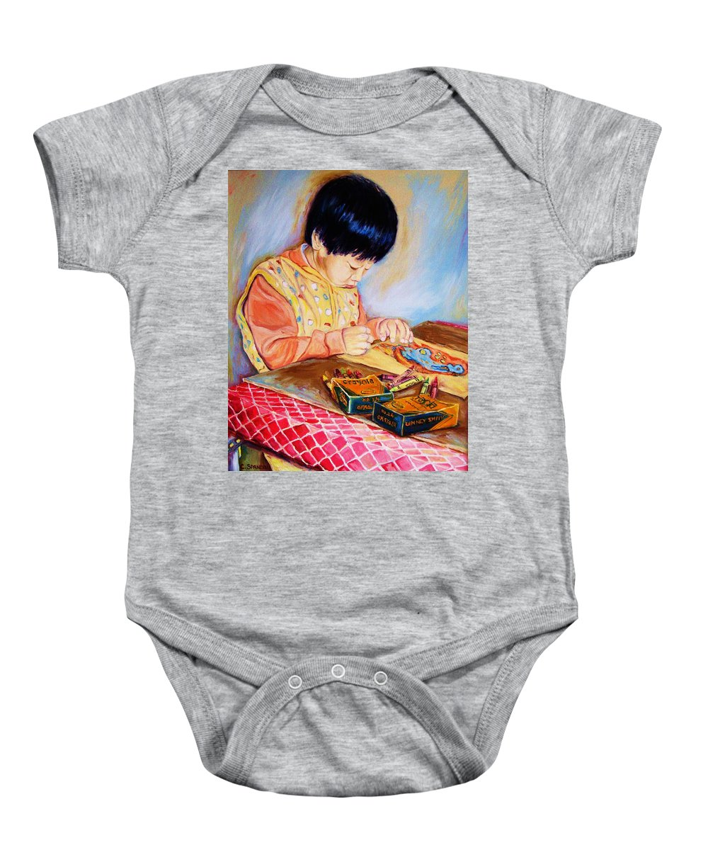Beautiful Child Baby Onesie featuring the painting Commission Portraits Your Child by Carole Spandau