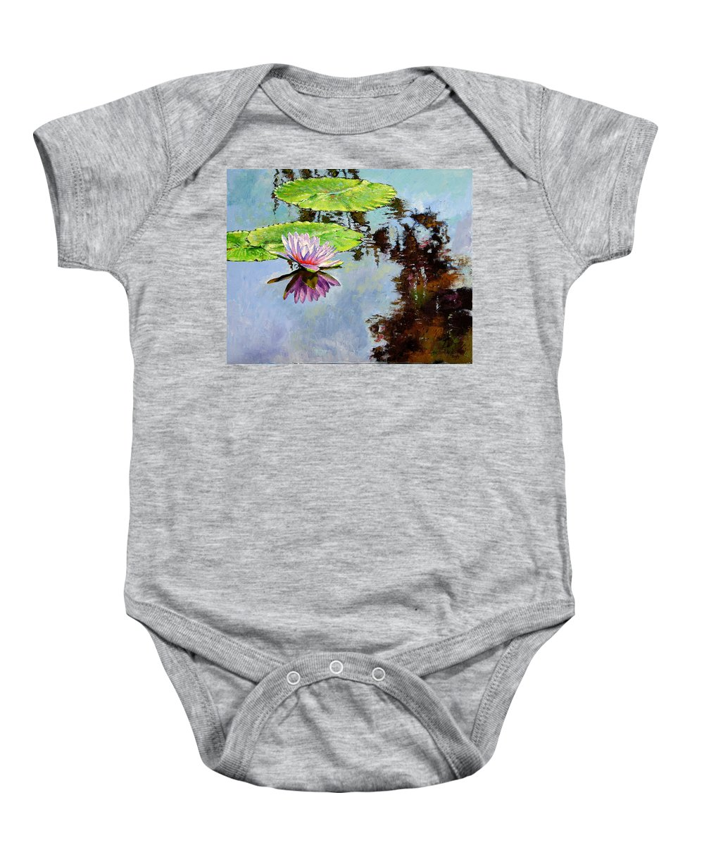 Water Lily Baby Onesie featuring the painting Composition Of Beauty by John Lautermilch
