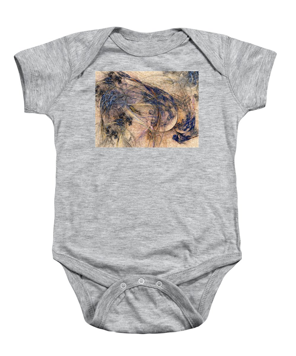 Abstract Baby Onesie featuring the digital art Conflicted by Casey Kotas