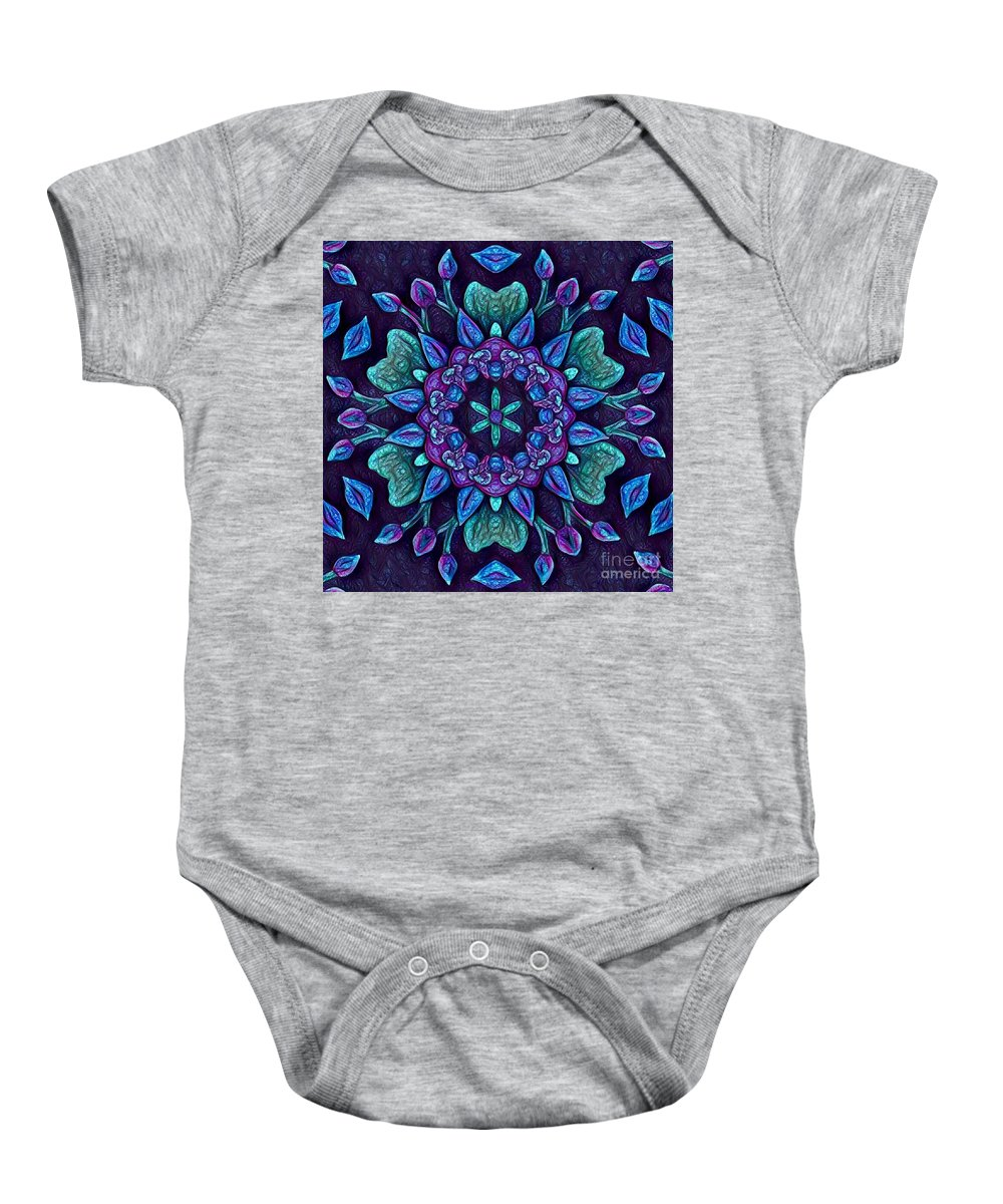Original Prismacolor Pencil Drawing Digital Photograph By Breena Briggeman Flowers Nature Purple Pink Blue Yellow Green Kaleidoscope Abstract Baby Onesie featuring the digital art Consider The Lilies by Breena Briggeman