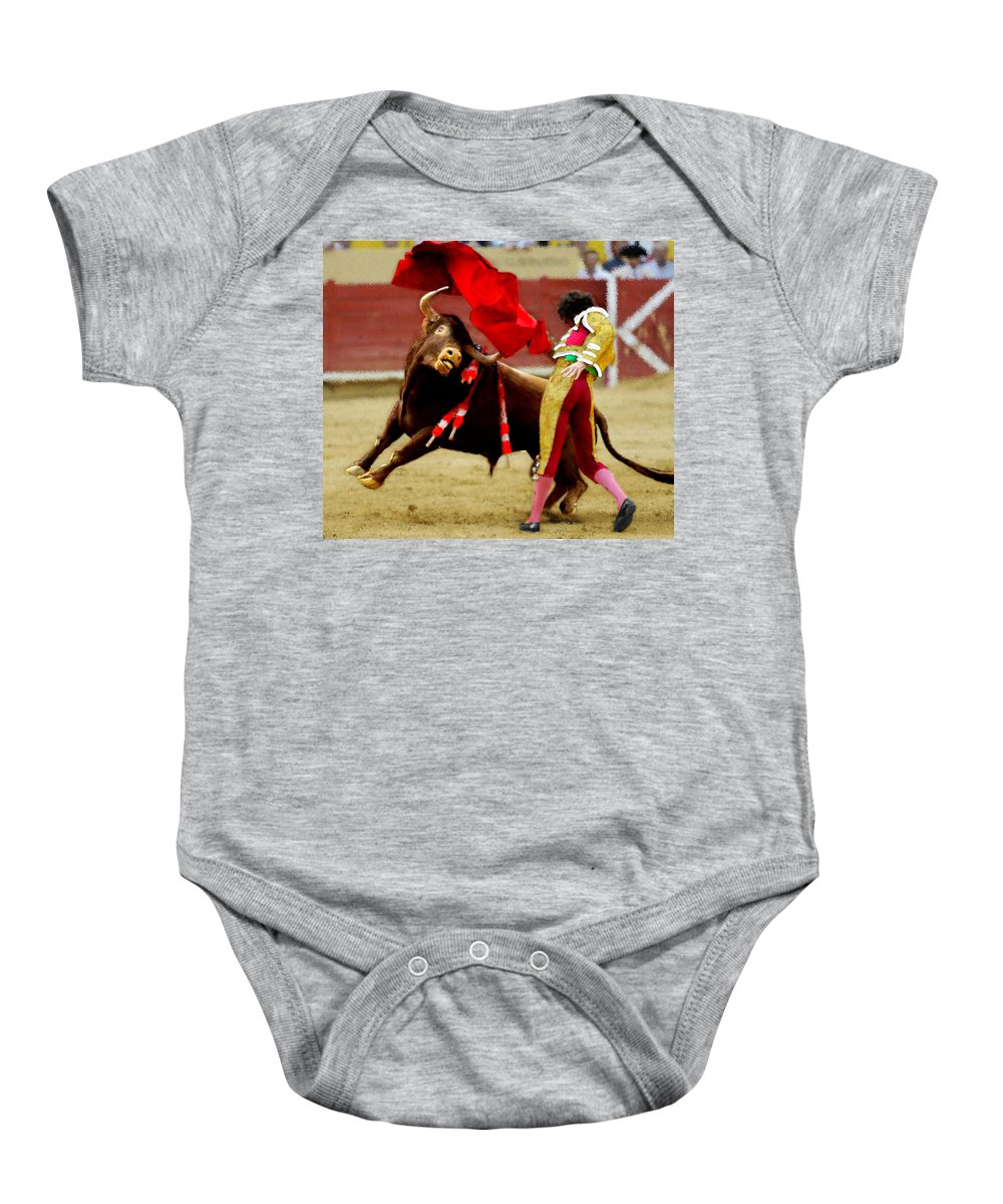 Bull Baby Onesie featuring the painting Contre Les Anti Corrida by Bruce Nutting