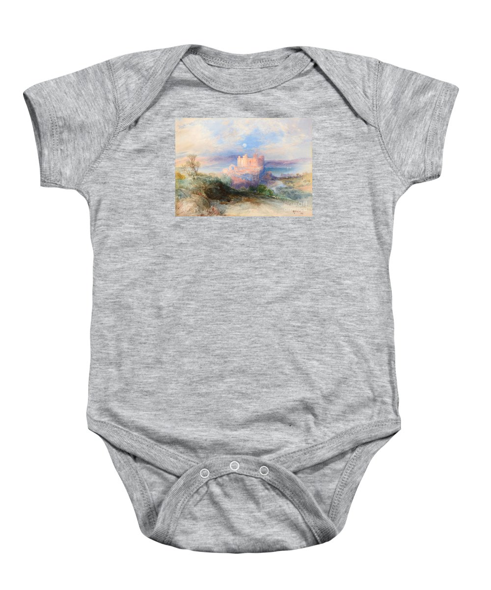 Thomas Moran (1837-1926) Conway Castle (1889). Blue Sky Baby Onesie featuring the painting Conway Castle by MotionAge Designs
