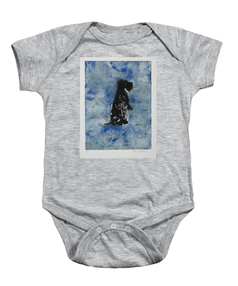 Monotype Baby Onesie featuring the mixed media Cool Blue by Cori Solomon