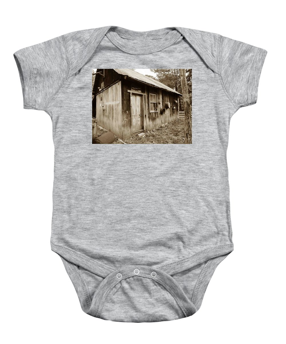 Shack Baby Onesie featuring the photograph Copper Valley Shack by Nelson Strong