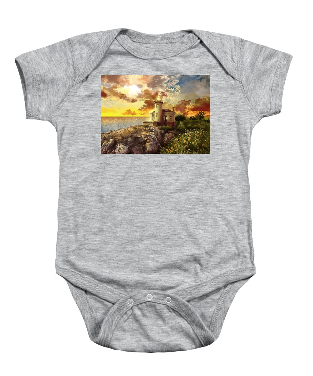 Lighthouse Baby Onesie featuring the painting Coquille River Lighthouse by Bekim Art