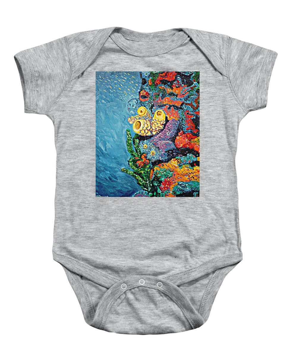Coral Baby Onesie featuring the painting Coral With Cucumber by Ericka Herazo