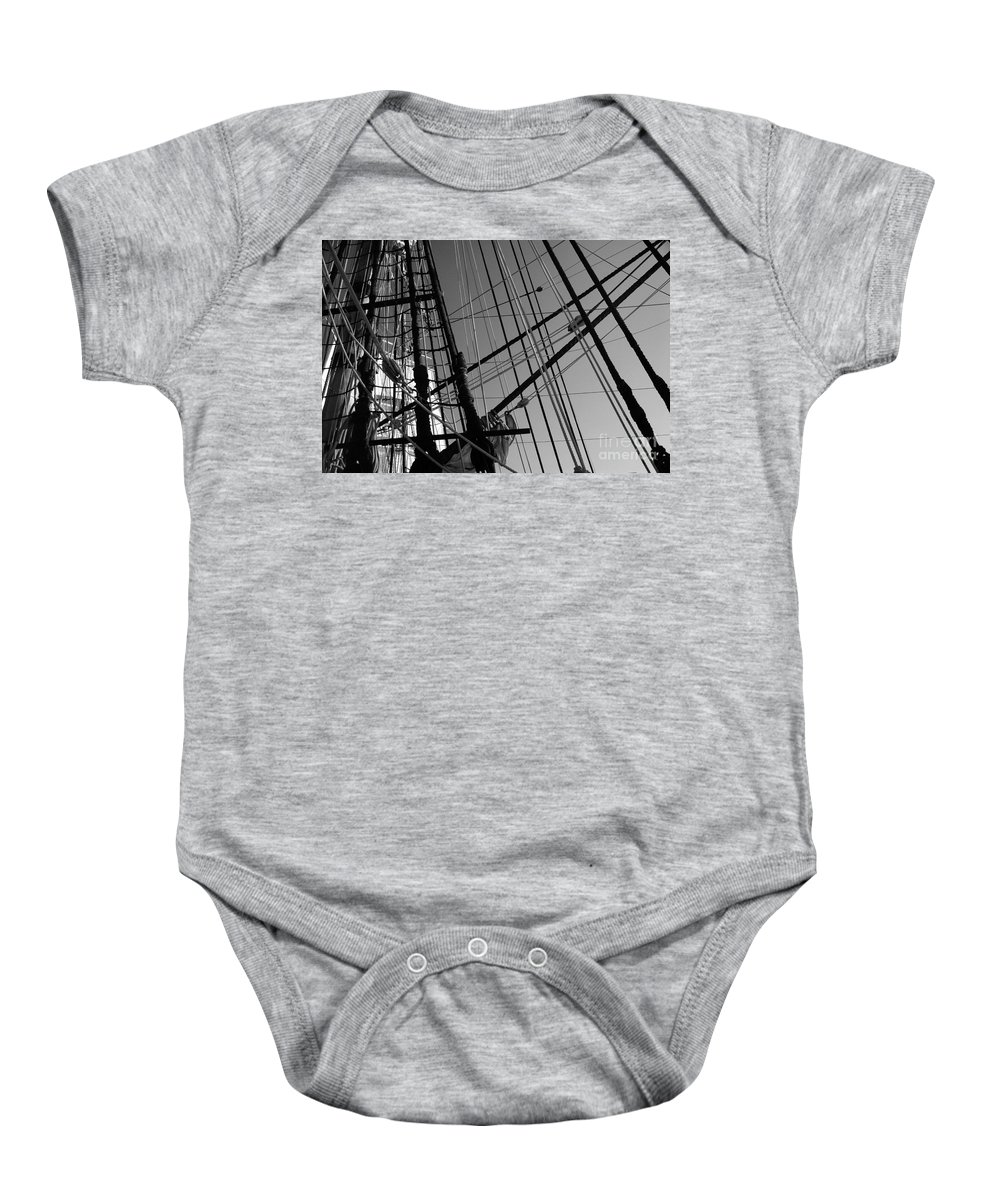 Maritime Baby Onesie featuring the photograph Cordage by Linda Shafer