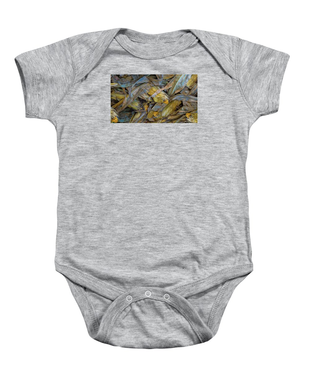 Harvest Baby Onesie featuring the photograph Corn Crops by Pat Cook