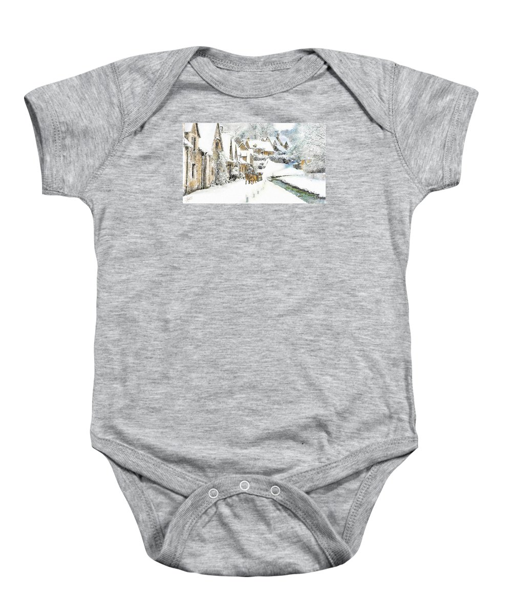 England Baby Onesie featuring the painting Cotswold Village by Tom Schmidt