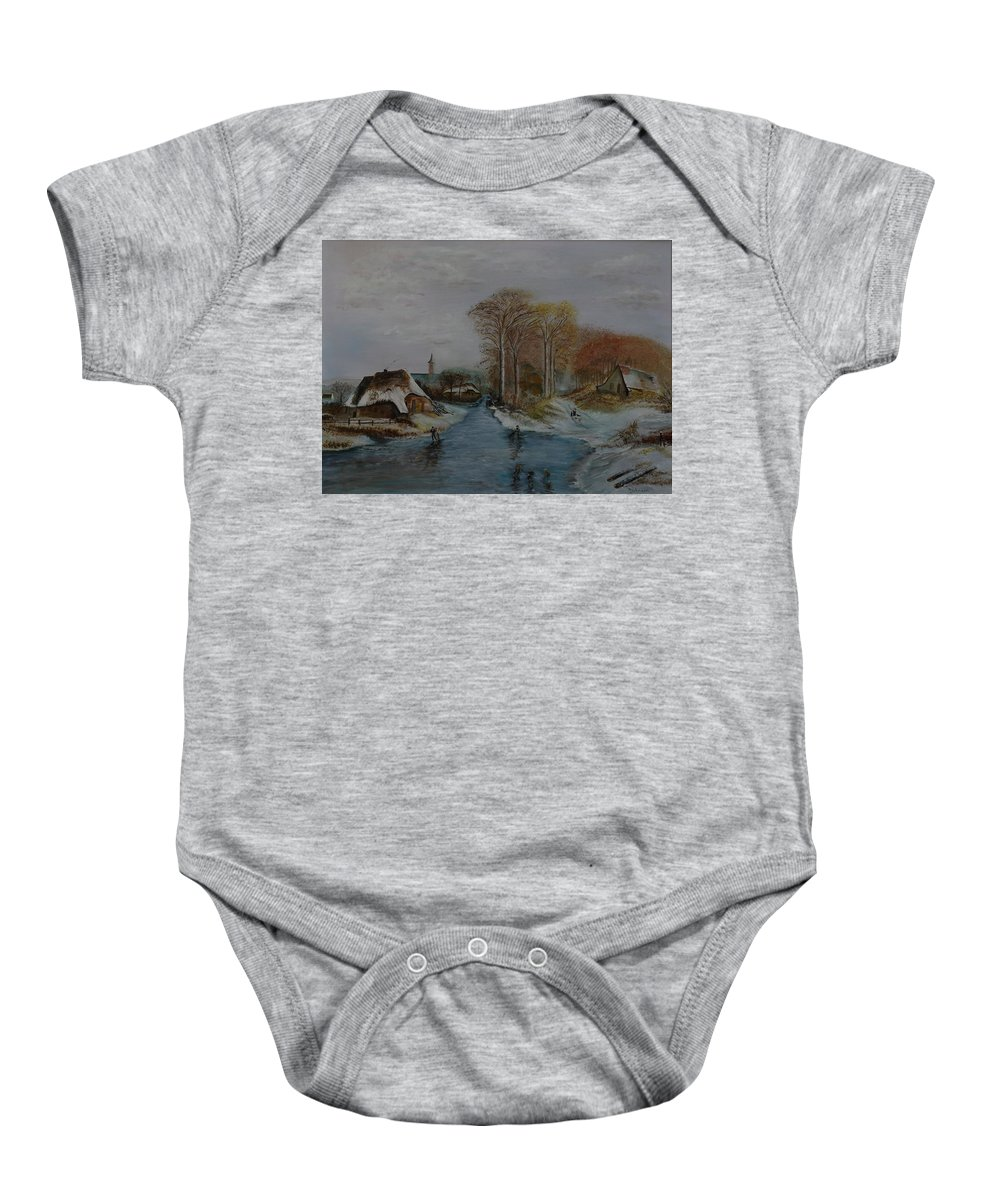 Thatched Roof Cottage Baby Onesie featuring the painting Cottage Country - Lmj by Ruth Kamenev