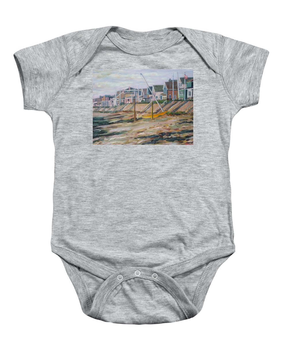 Beach Baby Onesie featuring the painting Cottages Along Moody Beach by Richard Nowak