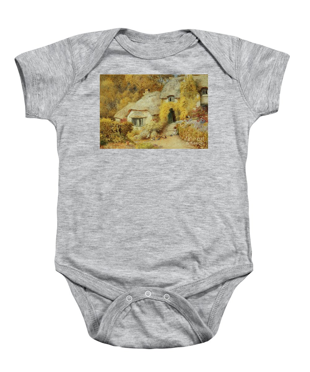 Cottages At Selworthy Baby Onesie featuring the painting Cottages At Selworthy, Somerset by Arthur Claude Strachan