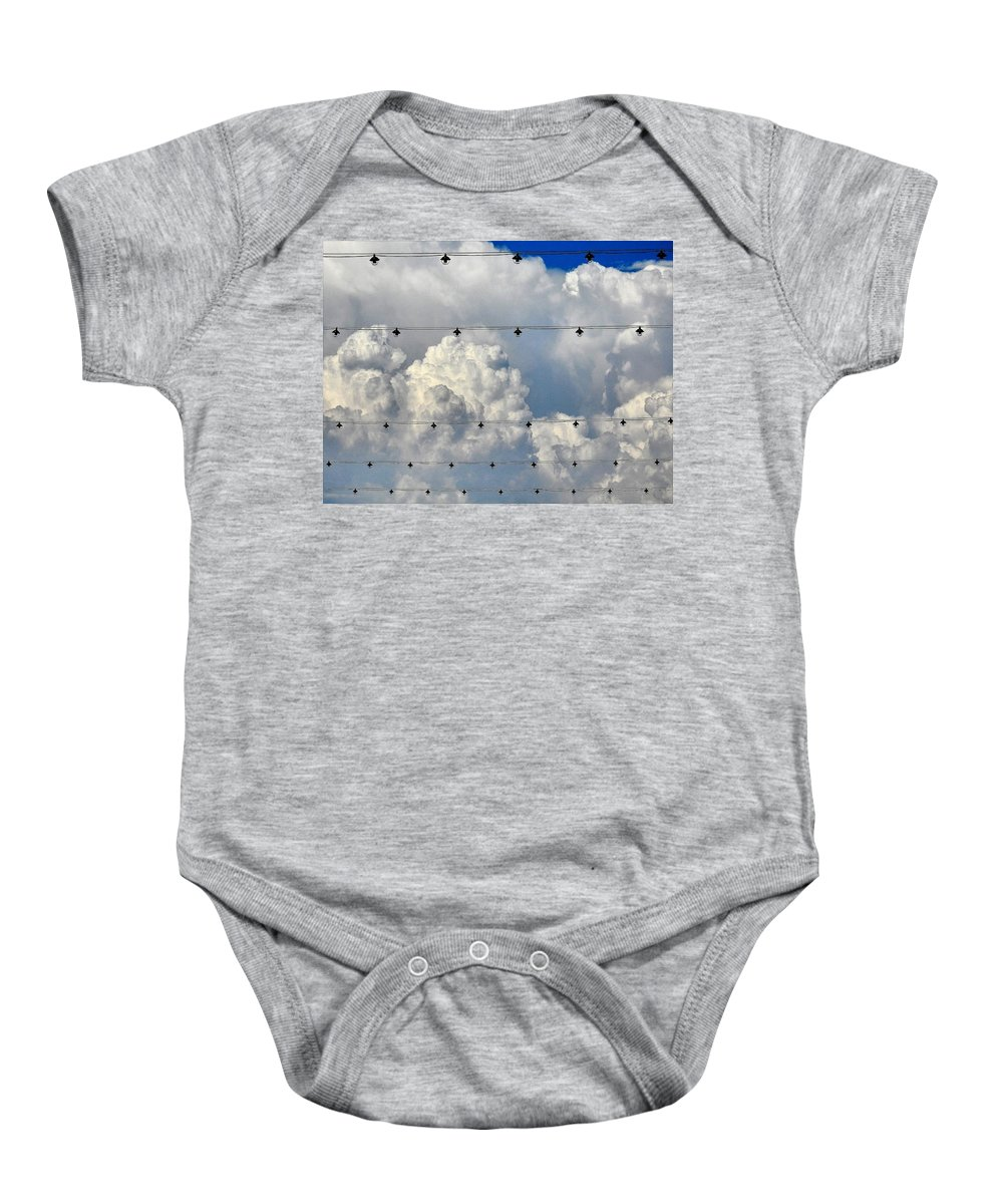 Clouds Baby Onesie featuring the photograph Couds With Lights by Greg Kear