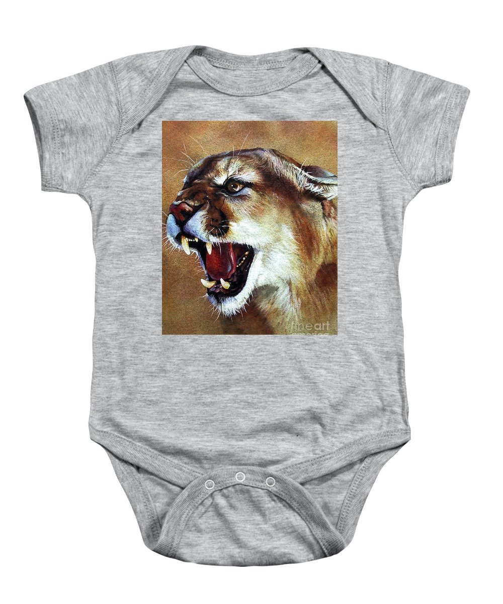 Southwest Art Baby Onesie featuring the painting Cougar by J W Baker