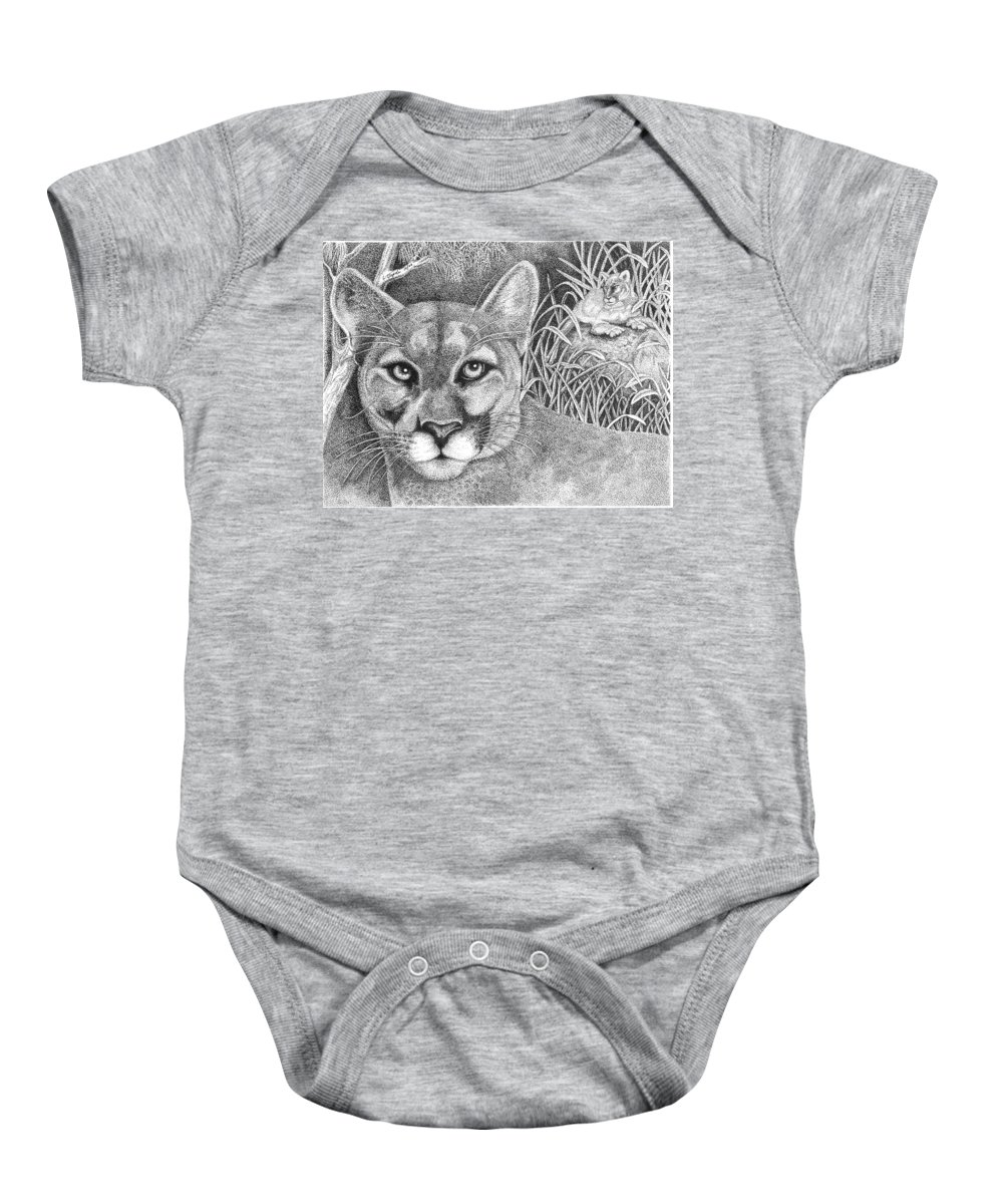 Wildlife Baby Onesie featuring the drawing Cougar by Lawrence Tripoli