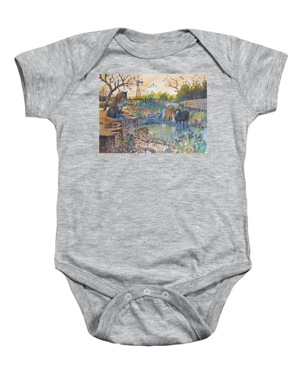 Sketch Of A Cougar Baby Onesie featuring the painting Cougar N Horses by Don Hand