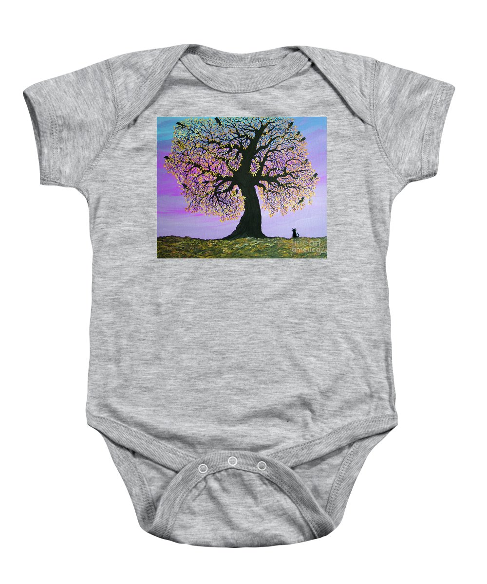 Crowes And Cat Baby Onesie featuring the painting Counting Crowes by Nick Gustafson